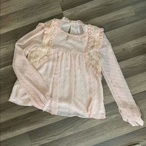 womens zara embroidered lace blouse in blush S